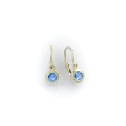 Dětské náušnice z bílého zlata s modrým kamínkem
