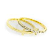 Zlatý prsten ve tvaru křížku, vel. 55