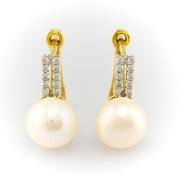 Zlaté náušnice s perlami a zirkony