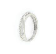 Prsten z bílého zlata zdobený bílými zirkony, velikost 55