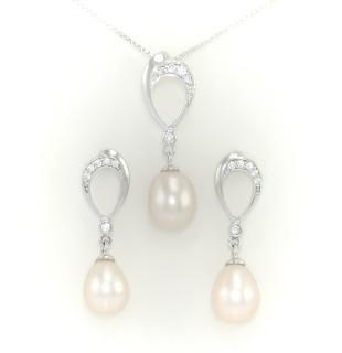 Stříbrná souprava s perlami