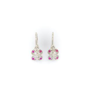 Zlaté dámské náušnice kroužky s růžovými kameny