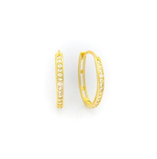 Zlaté náušnice kroužky zdobené kamínky