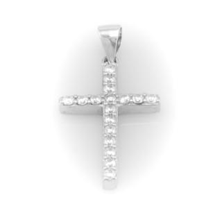 Stříbrný kříž se zirkony A026