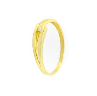 Dámský zlatý prsten se zirkonem, vel. 62