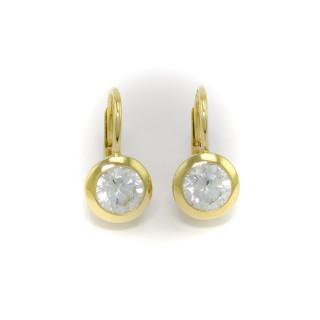 Zlaté dámské náušnice s bílými kameny