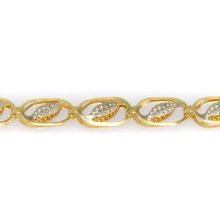 Zlatý náramek zdobený lístečky z bílého zlata 6294 PL