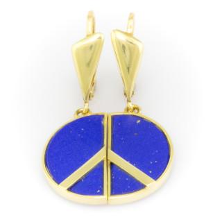 Zlaté visací náušnice s modrými kameny