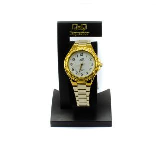 Ocelové hodinky se zlatým leskem Q909J004Y
