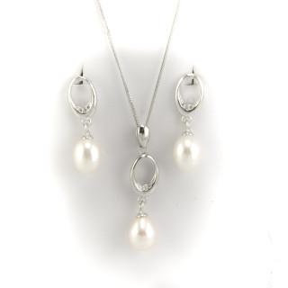 Stříbrná souprava perly S018