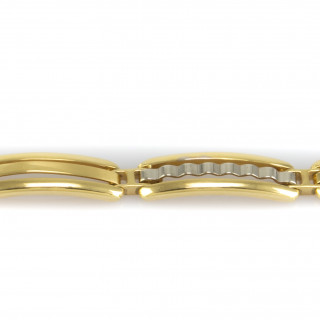 Silný zlatý náramek zdobený bílým zlatem 4096 PL