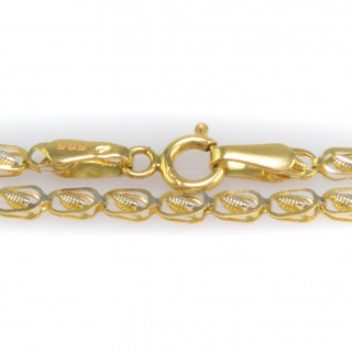 Náramek v kombinaci bílého a žlutého zlata s rytinou