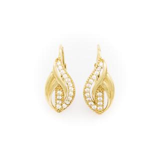 Zlaté dámské náušnice s bílými kameny na patent