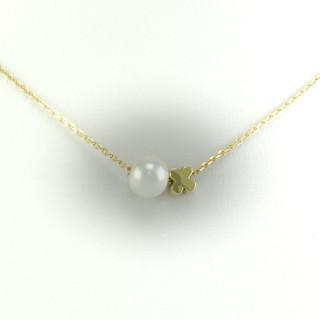 Zlatý náhrdelník čtyřlístek s perlou