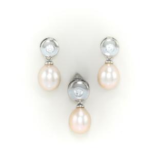 Stříbrná perlová souprava