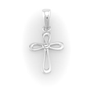 Přívěsek bílé zlato kříž 3905 PL