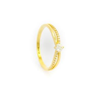 Zlatý prsten zdobný zirkony vel.60